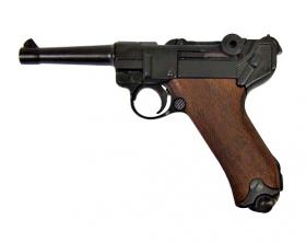 Replika pistole Parabellum Luger P.08, Německo 1898 dřevěné pažbičky