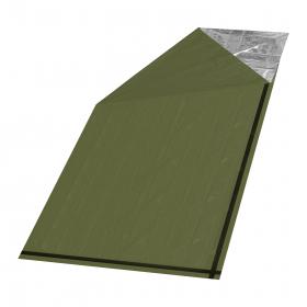 Nouzová tepelná deka -Izotermická fólie SOS zelená válec 200x92cm